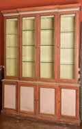 Furniture , A George IV-Style Paint Decorated Breakfront Bookcase, 20th century. 99 h x 80 w x 18-1/2 d inches (251.5 x 203.2 x 47.0 cm)...