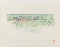 Frank Lloyd Wright (American, 1867-1959) Drawings and Renderings of the Mr. & Mrs. A. D. Barton House (
