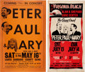 Music Memorabilia:Posters, Peter, Paul & Mary - Two Vintage Concert Posters (circa1960s).... (Total: 2 Items)
