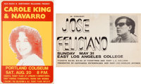 Carole King/Jose Feliciano - Two Vintage Concert Posters (circa 1960s)