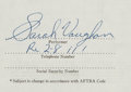Music Memorabilia:Autographs and Signed Items, Sarah Vaughan Signed Contract for Performance on The GoldenTouch of Frankie Carle (1956). ...