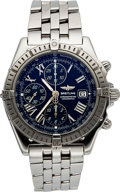 Timepieces, Breitling A13355 Steel Crosswind Automatic Chronometer Blue Dial....