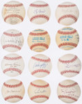 Autographs:Baseballs, Hall of Fame Single Signed Baseball Lot of 12.. ...
