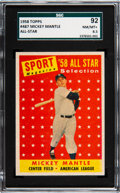Baseball Cards:Singles (1950-1959), 1958 Topps Mickey Mantle All Star #487 SGC 92 NM/MT+ 8.5....