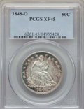 Seated Half Dollars, 1848-O 50C XF45 PCGS. WB-101, Die Pair 13, R.3. Ex: Dick Osburn Collection. Sharp for the grade with deep-blue border tonin...