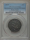 Large Cents: , 1839 1C Booby Head -- Environmental Damage -- PCGS Genuine. XF Details. NGC Census: (6/99). PCGS Population: (22/164). XF4...
