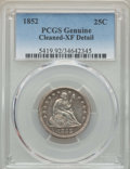 """Seated Quarters, 1852 25C -- Cleaning -- PCGS Genuine. XF Details. EX: """"E.B.Strickland Collection"""". NGC Census: (1/47). PCGS Population:..."""