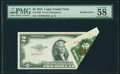 Error Notes:Foldovers, Fr. 1509 $2 1953 Legal Tender Note. PMG Choice About Unc 58 EPQ.....