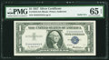 Small Size:Silver Certificates, Solid 4 Serial Fr. 1619 $1 1957 Silver Certificate. PMG Gem Uncirculated 65 EPQ.. ...