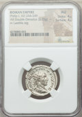 Ancients:Ancient Lots , Ancients: ANCIENT LOTS. Roman Imperial. (AD 244-169). Lot of two(2) AR and BI antoniniani. NGC AU.... (Total: 2 coins)