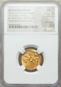 Ancients:Byzantine, Ancients: Heraclius (AD 610-641), with Heraclius Constantine andHeraclonas as Caesar. AV solidus (4.45 gm). NGC MS 5/5 - 3/5,scuffs, e...