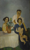 Fine Art - Painting, American:Modern  (1900 1949)  , Attributed to ADELAIDE LAWSON GAYLOR (American 1889-1986).Immigrant Family. Oil on canvas. 12 x 7 inches...