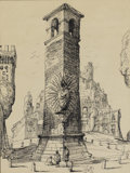 Fine Art - Painting, American:Modern  (1900 1949)  , Eugene Berman (American, 1899-1972). The Tower, 1952. Ink onpaper. 12 x 9 inches (30.5 x 22.9 cm). Initialed and dated ...