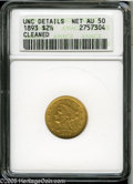 """Liberty Quarter Eagles: , 1893 $2 1/2 AU50--Cleaned--ANACS, UNC Details. The current Coin Dealer Newsletter (Greysheet) wholesale """"bid"""" price is $185.0..."""