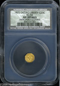 California Fractional Gold: , 1871 25C Liberty Octagonal 25 Cents, BG-765, R.3, AU50--ImproperlyCleaned--NGC, AU Details....