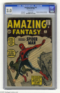 Amazing Fantasy #15 (Marvel, 1962) CGC GD/VG 3.0 Off-white pages. Origin and first appearance of Spider-Man. First appea...