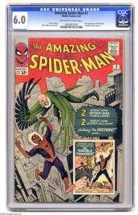 The Amazing Spider-Man #2 (Marvel, 1963) CGC FN 6.0 Off-white to white pages. Spidey's second issue features the first a...