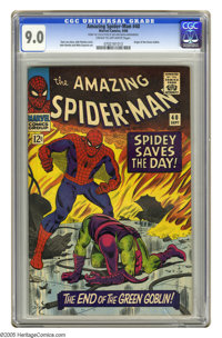 The Amazing Spider-Man #40 (Marvel, 1966) CGC VF/NM 9.0 Cream to off-white pages. Origin of the Green Goblin. John Romit...