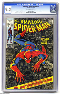The Amazing Spider-Man #100 (Marvel, 1971) CGC NM- 9.2 Off-white to white pages. Anniversary issue, with cameos by the G...