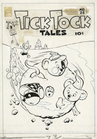 Chad Grothkopf (attributed) - Tick Tock Tales #14 Cover Original Art (Magazine Enterprises, 1947). The two little bears...
