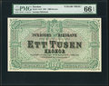 World Currency, Sweden Sveriges Riksbank 1000 Kronor 3.1.1881 Pick 12cts ColorTrial Specimen.. ...