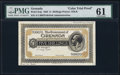 World Currency, Grenada Government of Grenada 5 Shillings 1.7.1920 Pick 2ctp Color Trial Proof.. ...