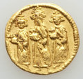 Ancients:Byzantine, Ancients: Heraclius (AD 610-641), with Heraclius Constantine andHeraclonas. AV solidus (4.34 gm). About XF, clipped....
