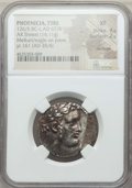 Ancients:Greek, Ancients: PHOENICIA. Tyre. Ca. 126/5 BC-AD 67/8. AR shekel (14.11gm). NGC XF 4/5 - 2/5, damage....