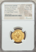 Ancients:Byzantine, Ancients: Phocas (AD 602-610). AV solidus (4.46 gm). NGC Choice AU4/5 - 4/5....