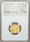 Ancients:Byzantine, Ancients: Constans II (AD 641-668) and Constantine IV (AD 654-685),with Heraclius and Tiberius. AV solidus (4.29 gm). NGC MS 4/5 -4/5,...