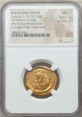 Ancients:Byzantine, Ancients: Justinian I (AD 527-565). AV solidus (4.49 gm). NGC MS2/5 - 4/5....