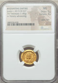 Ancients:Byzantine, Ancients: Justin I (AD 518-527). AV tremissis (1.49 gm). NGC MS 5/5- 4/5, wavy flan....