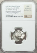 Ancients:Greek, Ancients: PARTHIAN KINGDOM. Phraates IV (ca. 38-2 BC). AR drachm(4.00 gm). NGC MS 4/5 - 5/5....