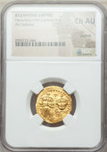 Ancients:Byzantine, Ancients: Heraclius (AD 610-641) and Heraclius Constantine (AD613-641). AV solidus. NGC Choice AU, clipped....