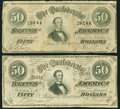 Confederate Notes, T66 $50 1864, Two Examples.. ... (Total: 2 notes)