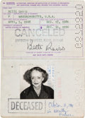 Movie/TV Memorabilia:Autographs and Signed Items, A Bette Davis Signed Last Passport, 1986....