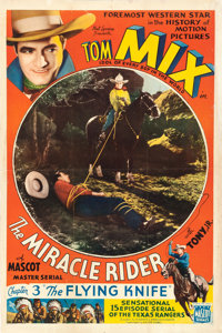 "The Miracle Rider (Mascot, 1935). One Sheet (27"" X 40.75"") Chapter 3 -- ""The Flying Knife."" Serial..."