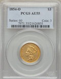 Three Dollar Gold Pieces, 1854-O $3 AU55 PCGS. Variety 2. Both dies are lapp...