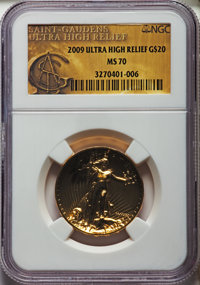 2009 $20 One-Ounce Gold Ultra High Relief Twenty Dollar, Saint-Gaudens Si MS70 NGC. NGC Census: (8559). PCGS Population:...