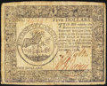 Colonial Notes:Continental Congress Issues, Continental Currency September 26, 1778 $5 Very Fine.. ...