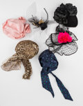 American:Academic, A Zsa Zsa Gabor Collection of Headdresses, Circa 1980s.. Six totalincluding: 1) a black velvet hat with elaborate black sta...(Total: 6 Items)
