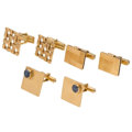 Estate Jewelry:Cufflinks, Star Sapphire, Gold Cuff Links. ... (Total: 3 Items)