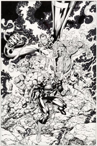 Jim Lee and Scott Williams Fantastic Four V2#4 Cover Original Art (Marvel, 1997)