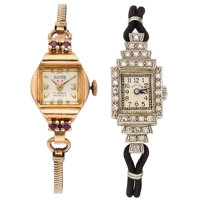 Retro Hamilton Lady's Diamond, Platinum Watch and Retro Hilton Lady's Synthetic Spinel, Gold, Gold-Filled Incabloc Watch...