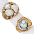 Estate Jewelry:Rings, Cultured Pearl, Diamond, Gold Rings. ... (Total: 2 Items)