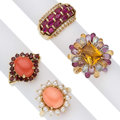 Estate Jewelry:Rings, Multi-Stone, Gold Rings. ... (Total: 4 Items)
