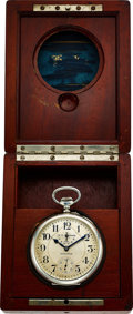 Timepieces:Pocket (post 1900), Hamilton Rare 36 Size Sterling U.S. Navy 21 Jewel Indicator Original Wooden Box. ...
