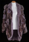 American:Academic, A Zsa Zsa Gabor Fur Coat, Circa 1970s.. Dark purple fur of varyingtypes and textures, knee-length, long sleeves, two front ...