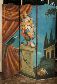 A Three-Part Italian Oil on Canvas Room Screen with Classical Scenery 73 inches high x 60 inches wide (185.4 x 152