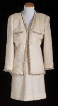 American:Academic, A Zsa Zsa Gabor Day Suit, Circa 1990s.. The jacket nubby off-whitewool, collarless, two front pockets, entirely trimmed in ...